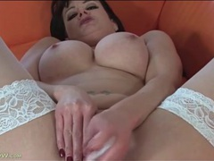 Momma wears white stockings as she fucks a toy videos