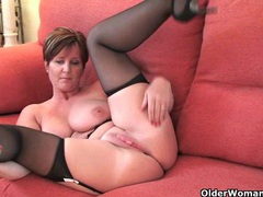 British milf joy exposing her big tits and hot fanny movies at lingerie-mania.com