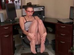 Slutty work outfit looks hot on celeste star movies at kilopills.com