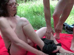 Grannies and milfs suck and fuck outdoors movies at lingerie-mania.com