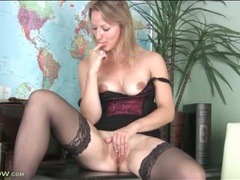 High heels and stockings on masturbating blonde videos