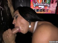 Slut with cum on her face blows at gloryhole tubes