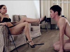 Sucking high heels and toes of his sexy mistress tubes