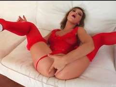 Slutty red lingerie on this anal fingering girl videos