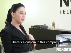 Teeny brunette fucks and sucks her boss videos
