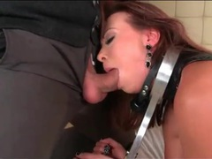 Leather girl in bondage gets fucked in the butt movies at sgirls.net