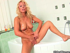 The bathroom is the perfect place for mom to masturbate videos