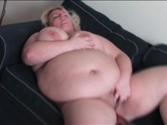 Bbw bangs her bald pussy with a black dildo movies at lingerie-mania.com