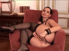 Leather lingerie and lusty fishnets on masturbating girl movies