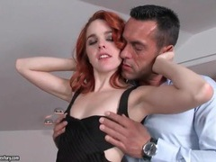 Redhead in little black dress makes out with him movies