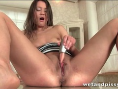 Chick shoves fingers in her cunt and pisses movies at find-best-pussy.com