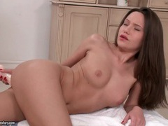 Solo girl fucks a big dildo in the bathroom videos