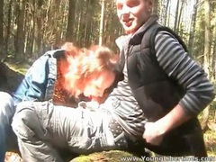 Homemade blowjob in the woods from his lady movies at kilosex.com