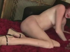Redhead fondles her little tits and teases her pussy videos