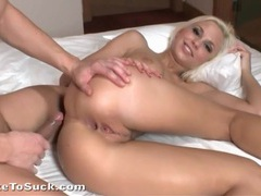Cute blonde gets an anal creampie on top movies at sgirls.net