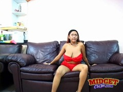 Midget sucks on her big natural tits videos
