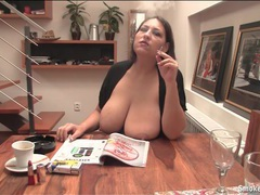 Chubby girl smokes with her big natural tits out videos
