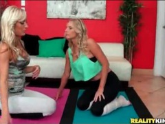 Flexible milfs in spandex get frisky during yoga videos