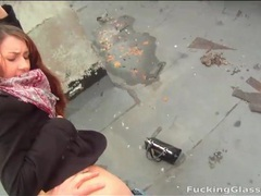 Rooftop doggystyle sex with cutie in a coat videos