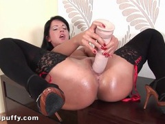Thick dildo fucks wet pussy of chick in stockings movies at kilotop.com
