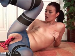 Masturbating girl in sexy blue pantyhose videos