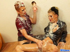 Lesbian genny drenched in bukkake movies at kilopills.com