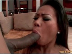 Asian sits her wet cunt on big black cock tubes at sgirls.net