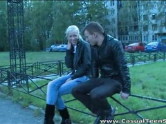 Blonde teen in boots and jeans blows him videos