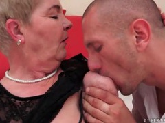 Granny wears lace top in foreplay video videos