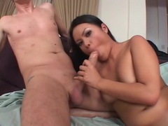 Asian eats out redhead on her shaved pussy tubes at find-best-asian.com