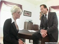 Secretary gets on her knees and gives a blowjob videos