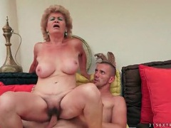Wrinkled granny with big tits rides her man movies at lingerie-mania.com