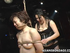 Elegant japanese cutie teased by her horny domme videos