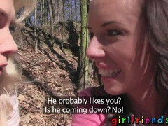 Girlfriends eat pussy and make a sextape in the woods videos