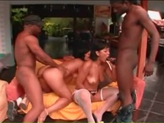 Interracial outdoor foursome fuck with two latinas videos