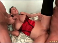 Two cumshots coat the big titty milf slut videos