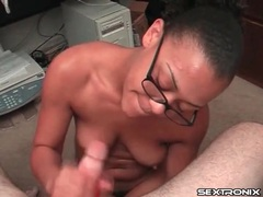 Young lady in glasses gets a facial cumshot movies at lingerie-mania.com