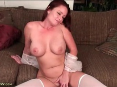 Sexy milf redhead with lovely curves fucks toy videos