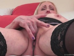 Granny gropes her big tits and masturbates movies at find-best-panties.com