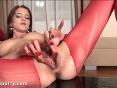 Giant dildo fucks slut in ripped red pantyhose videos