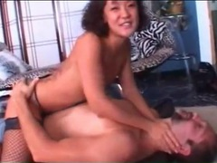 Asian girl demonstrates wrestling moves on him videos