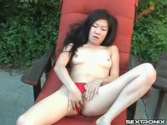 Petite asian in red panties masturbates outdoors videos