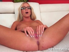 Solo nude blonde in glasses goes pee videos