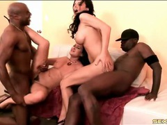 White ladies fucked by big black cock in foursome videos