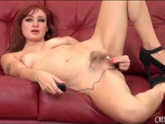 Redhead in high heels stuffs vibrator in her ass movies at kilotop.com