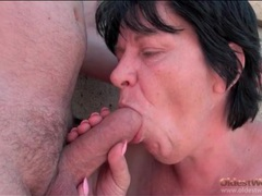 Saggy boobs granny gives a blowjob outdoors movies at find-best-hardcore.com