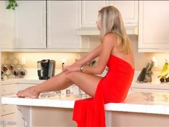 Blonde scarlet red is sexy in a long red dress videos
