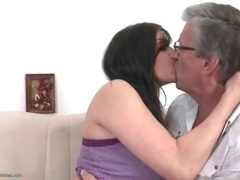 Old man kissing cute brunette girl lustily movies