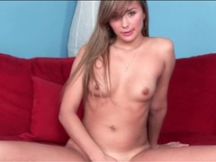 Sexy brunette with tiny titties masturbates solo movies