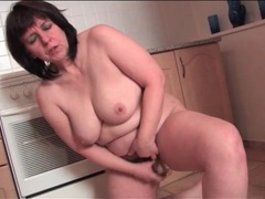 Fat housewife toy fucks her cunt in kitchen videos